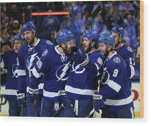 Playoffs Wood Print featuring the photograph New York Rangers V Tampa Bay Lightning by Bruce Bennett