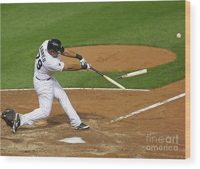 American League Baseball Wood Print featuring the photograph Los Angeles Angels Of Anaheim V Chicago by Jonathan Daniel