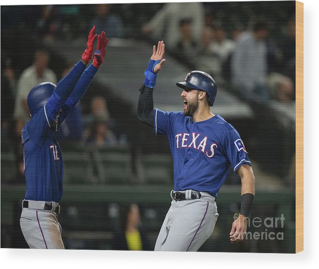 Three Quarter Length Wood Print featuring the photograph Texas Rangers V Seattle Mariners by Stephen Brashear