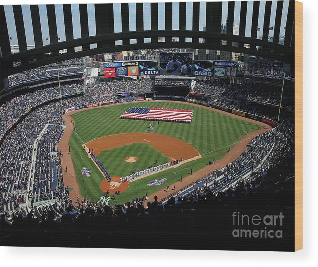 American League Baseball Wood Print featuring the photograph Toronto Blue Jays V New York Yankees by Elsa