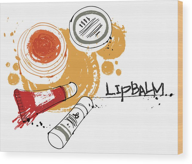 White Background Wood Print featuring the digital art Cosmetics by Eastnine Inc.