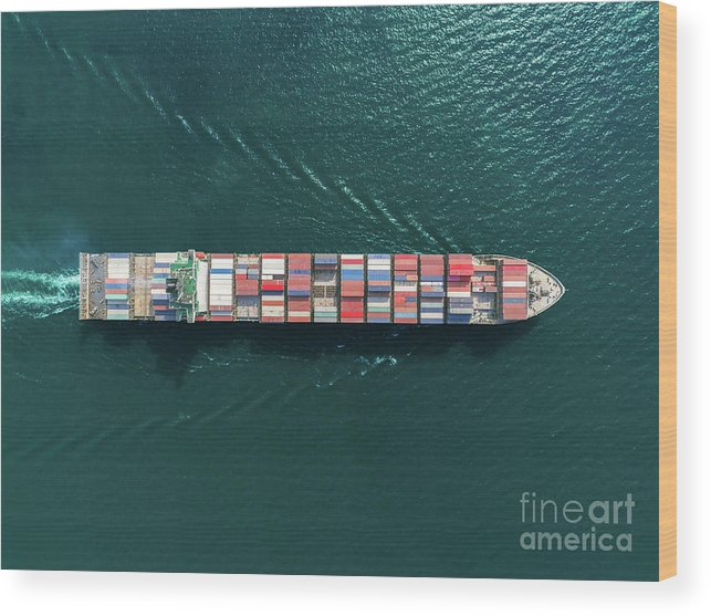 Trading Wood Print featuring the photograph Aerial Top View Container Ship Full by Suriyapong Thongsawang