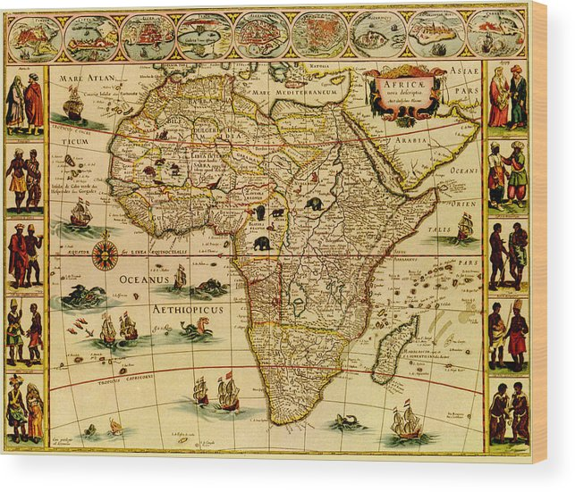 White Background Wood Print featuring the digital art Antique Africa Map by Nicoolay