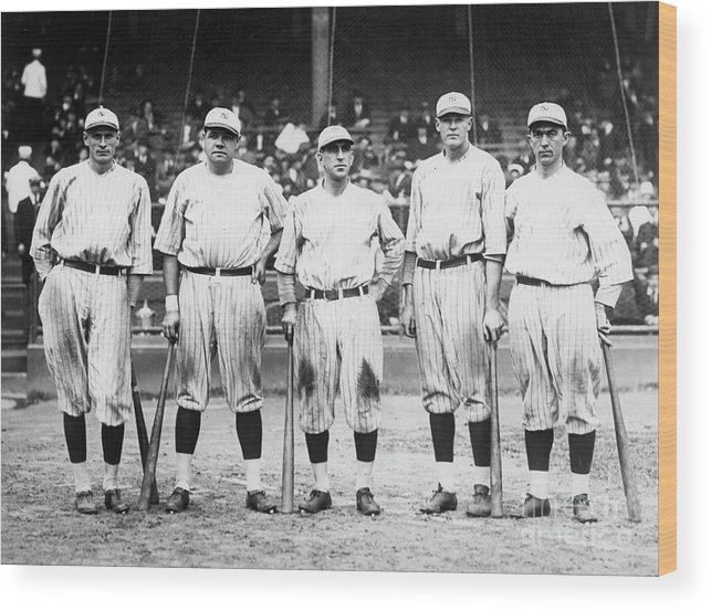 American League Baseball Wood Print featuring the photograph Babe Ruth Murderers Row 1921 by Transcendental Graphics