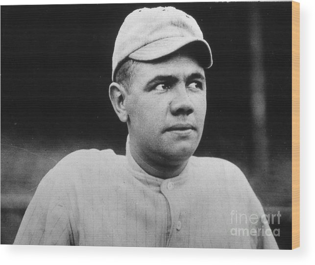 People Wood Print featuring the photograph Babe Ruth Portrait Boston 1916 by Transcendental Graphics