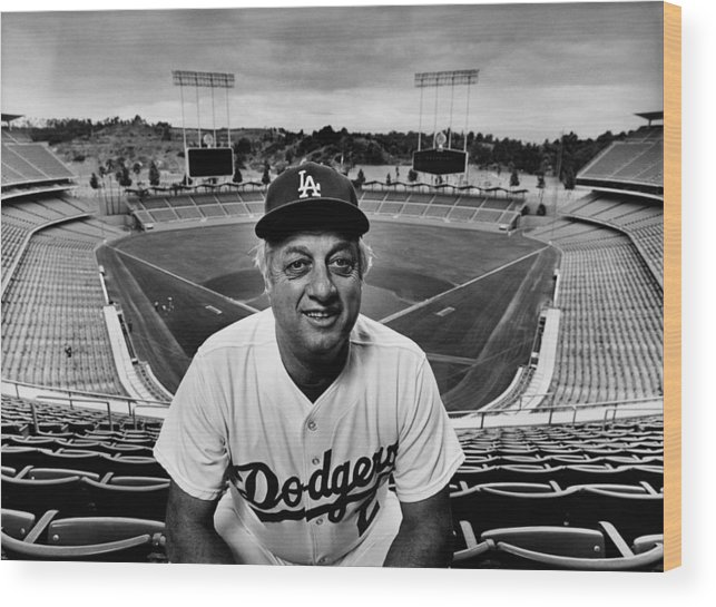 Event Wood Print featuring the photograph Baseball Manager Tommy Lasorda Portrait by George Rose