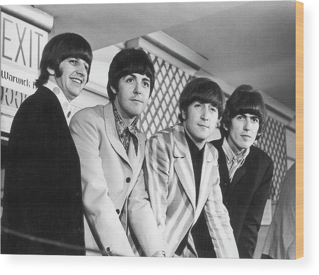 Rock Music Wood Print featuring the photograph Beatles Press Conference by Fred W. McDarrah