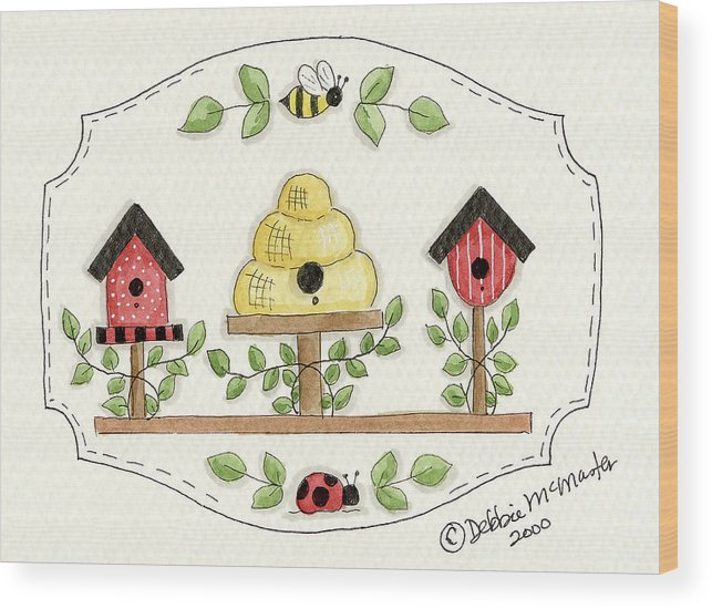 Birdhouses Beehive Bee Wood Print featuring the painting Beehive With Birdhouse by Debbie Mcmaster