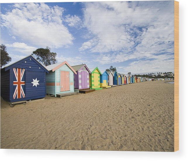 Steps Wood Print featuring the photograph Brighton Beach Huts by Samvaltenbergs