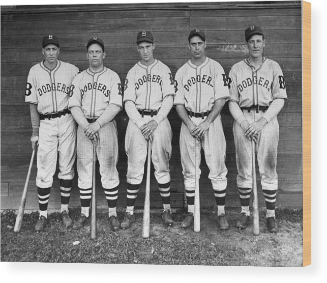 1930-1939 Wood Print featuring the photograph Brooklyn Dodgers Outfielders L. To R by New York Daily News Archive