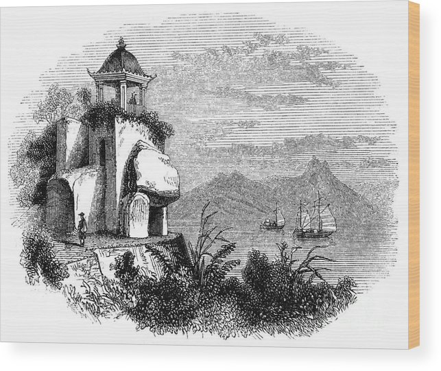 Macao Wood Print featuring the drawing Camoens Grotto, Macao, 1847. Artist by Print Collector
