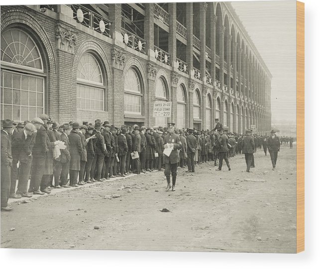 Horse Wood Print featuring the photograph Dodgers Fans In Line At Ebbets Field by Fpg