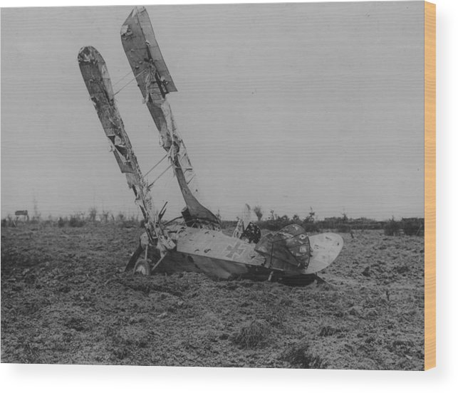 Military Airplane Wood Print featuring the photograph Downed Fokker by Hulton Archive