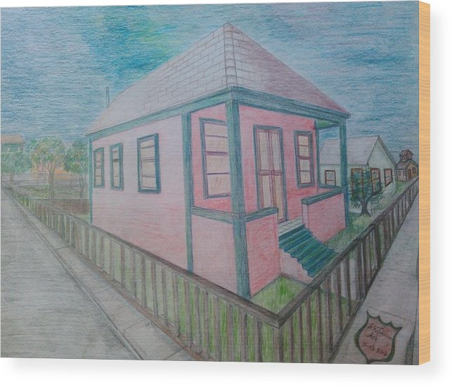 Drawing By Andrew Johnson Wood Print featuring the drawing Dream Cottage by Andrew Johnson