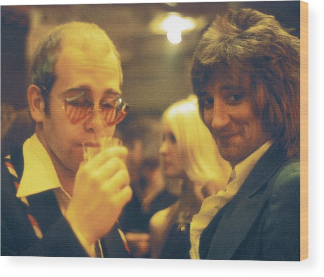 Rock Music Wood Print featuring the photograph Elton And Rod by Graham Wiltshire