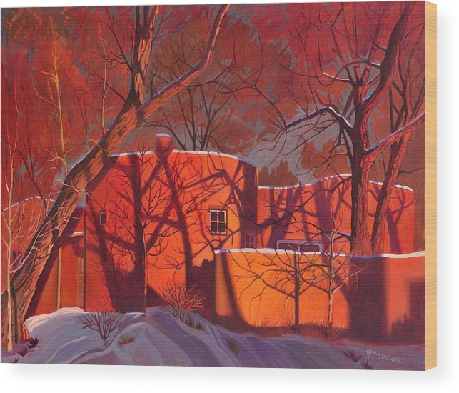 Taos Wood Print featuring the painting Evening Shadows on a Round Taos House by Art West