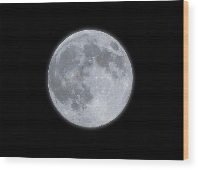 Sky Wood Print featuring the photograph Full Moon With Glow by Banksphotos