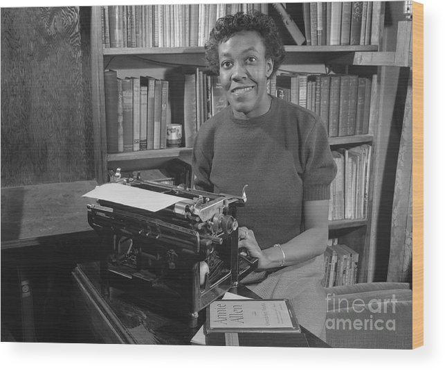 People Wood Print featuring the photograph Gwendolyn Brooks With Typewriter by Bettmann