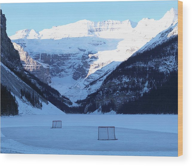 Scenics Wood Print featuring the photograph Hockey Net On Frozen Lake by Ascent/pks Media Inc.
