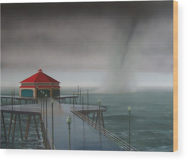 Huntington Beach Wood Print featuring the painting Huntington Beach Pier waterspout by Philip Fleischer