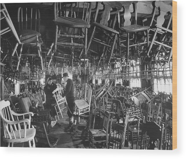 Timeincown Wood Print featuring the photograph Large Room Full Of Chairs Being Offered by Walter Sanders