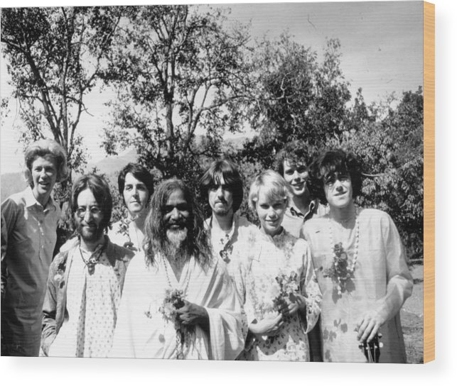 Following Wood Print featuring the photograph Maharishi And Pop Stars by Keystone Features