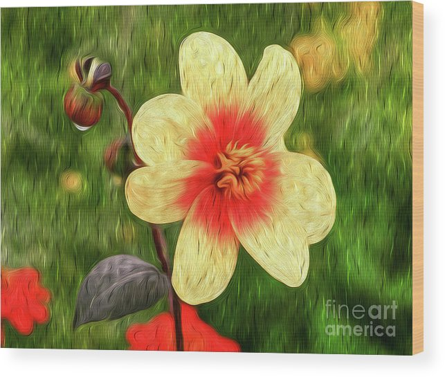 Flower Wood Print featuring the digital art Morning Dew I by Kenneth Montgomery