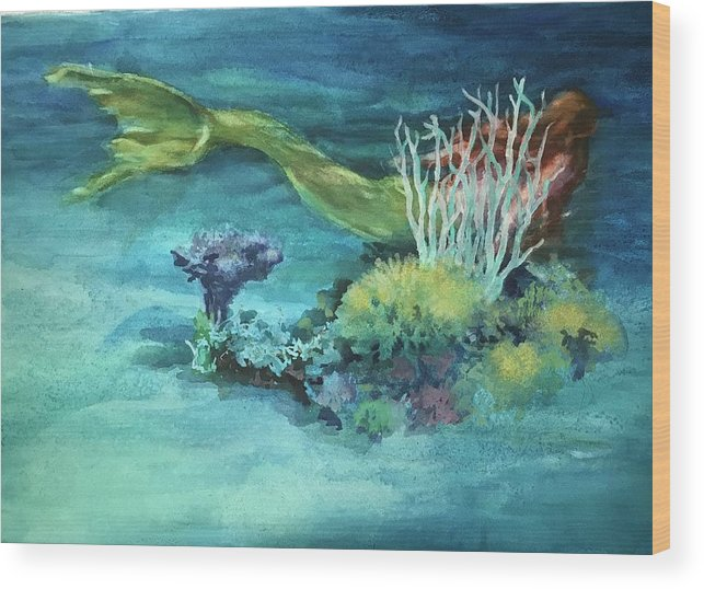 Mermaid Wood Print featuring the painting My Home by Carolyn Epperly