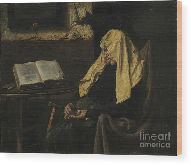 Senior Women Wood Print featuring the drawing Old Woman Asleep by Heritage Images