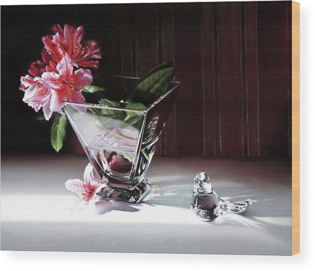 Clear Glass Vase Wood Print featuring the pastel Paper and Glass by Dianna Ponting