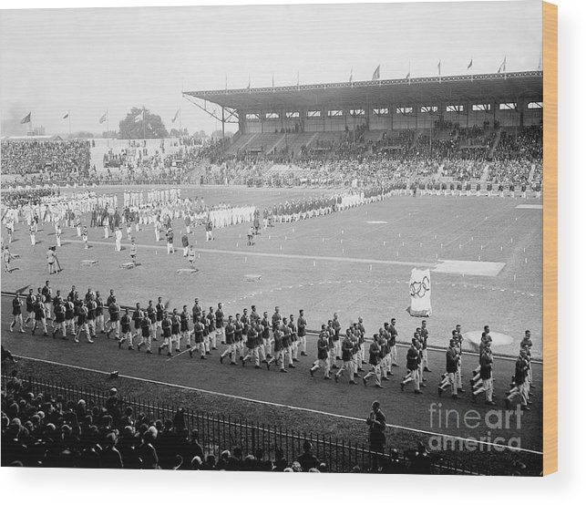 The Olympic Games Wood Print featuring the photograph Parade Opening Olympic Games by Bettmann