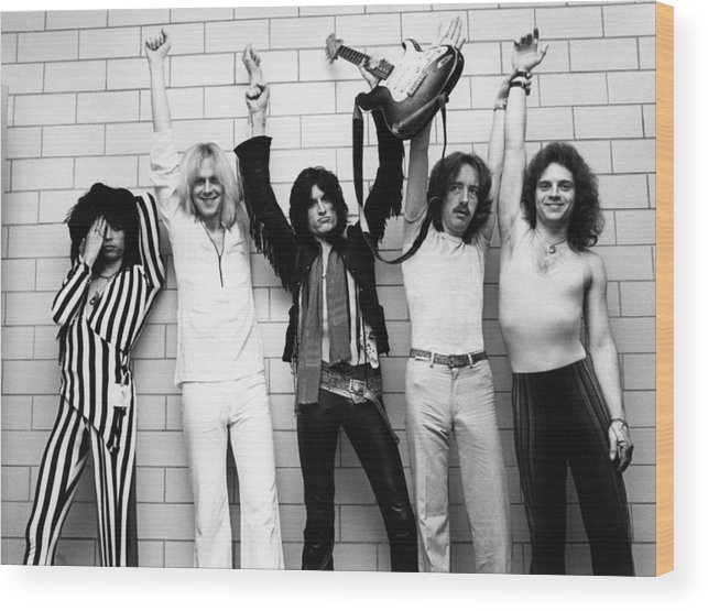 Tom Hamilton Wood Print featuring the photograph Photo Of Aerosmith And Tom Hamilton And by Fin Costello