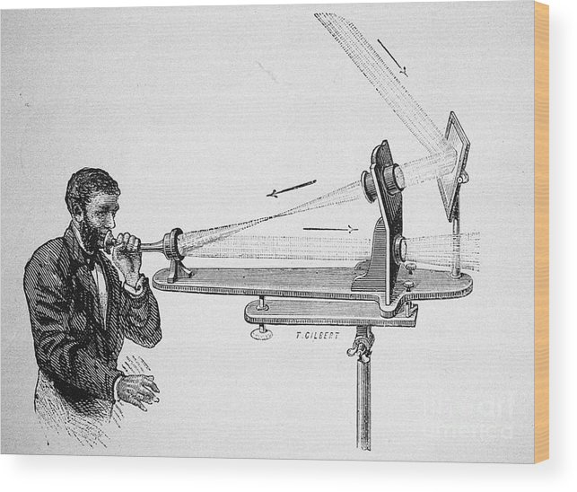 Alexander Graham Bell Wood Print featuring the drawing Photophone By Alexander Graham Bell by Heritage Images