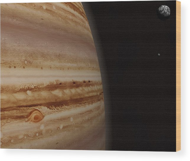 Black Color Wood Print featuring the photograph Planet Jupiter And A Distant Moon by Jason Reed