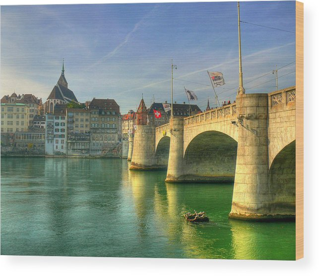 Outdoors Wood Print featuring the photograph Rhine Bridge In Basel by Richard Fairless