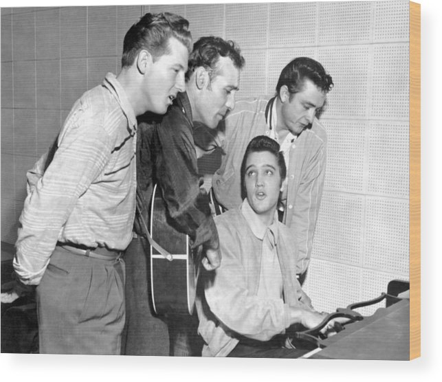 1950-1959 Wood Print featuring the photograph Rock And Roll Musicians Jerry Lee by Michael Ochs Archives