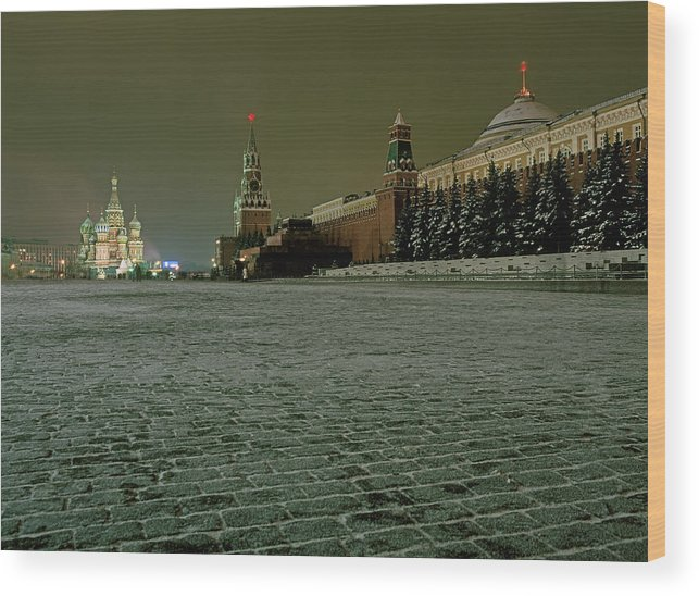 Outdoors Wood Print featuring the photograph Russia, Moscow, Red Square And Kremlin by Hans Neleman