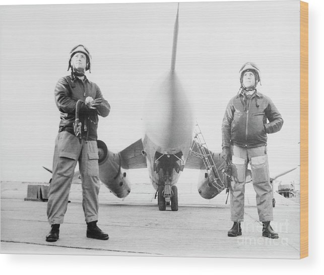 People Wood Print featuring the photograph Soviet Air Force Captains With Airplane by Bettmann