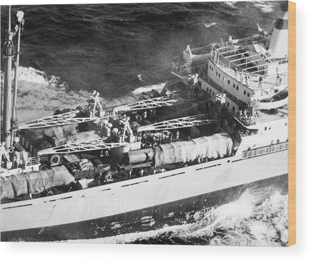Container Ship Wood Print featuring the photograph Soviet Freighter With Missiles by Bettmann