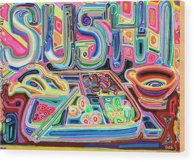 Sushi Wood Print featuring the painting Sushi by Josh Byer
