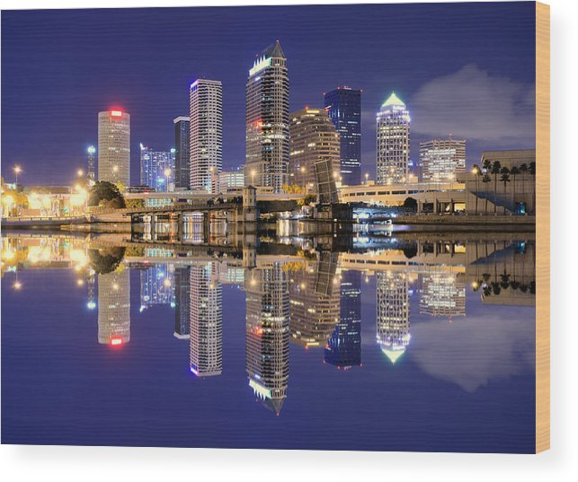 Downtown District Wood Print featuring the photograph Tampa Bay Skyline by Sean Pavone