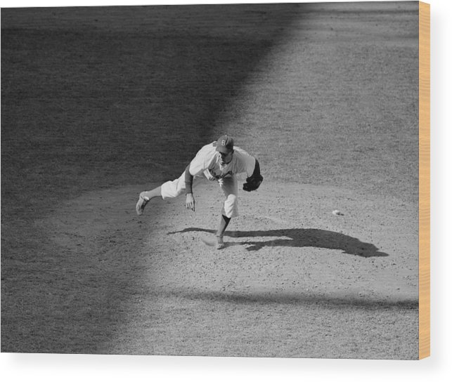 Motion Wood Print featuring the photograph The Dodgers Hal Gregg, In Action In The by New York Daily News Archive