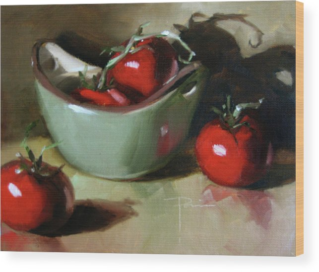 Still Life Wood Print featuring the pastel The Green Pot by Dianna Ponting