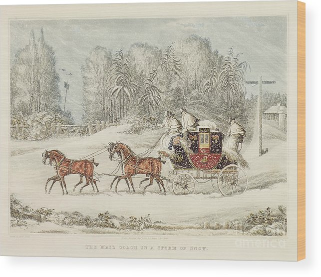 The Mail Coach In A Storm Of Snow Wood Print featuring the painting The Mail Coach In A Storm Of Snow 1825 by James Pollard