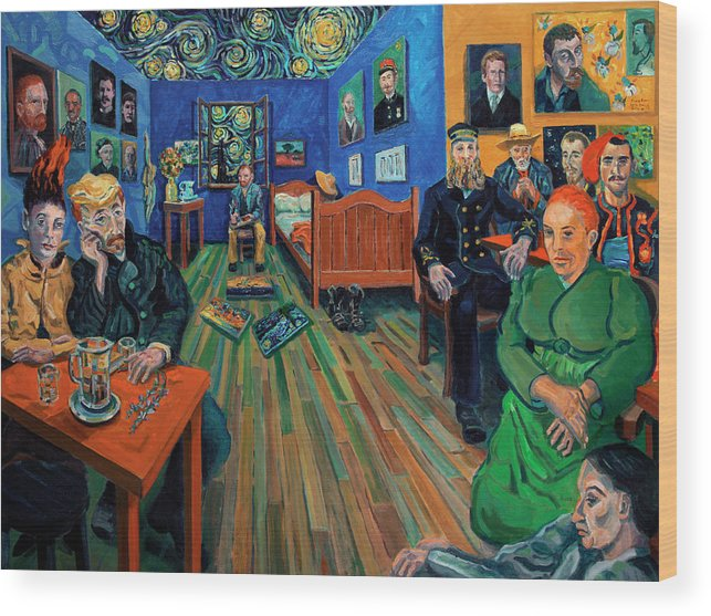 Figurative Wood Print featuring the painting Van Gogh and Van Goghs by Ralph Papa