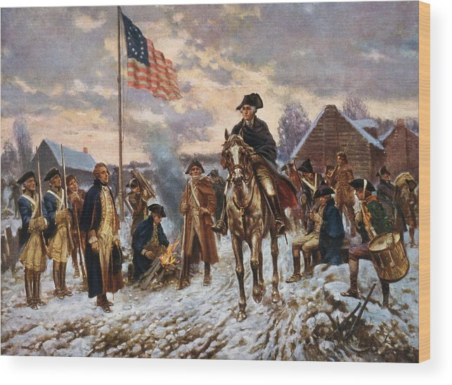 George Washington Wood Print featuring the painting Washington at Valley Forge by War Is Hell Store