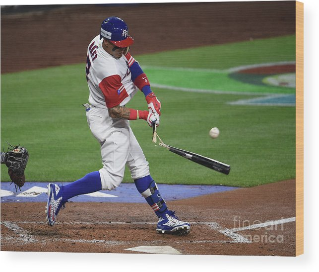 People Wood Print featuring the photograph World Baseball Classic - Pool F - Game by Denis Poroy