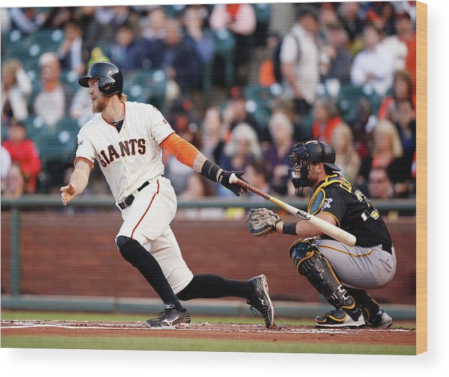 San Francisco Wood Print featuring the photograph Hunter Pence by Ezra Shaw