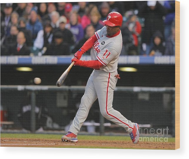 Playoffs Wood Print featuring the photograph Jimmy Rollins by Doug Pensinger