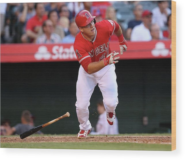 People Wood Print featuring the photograph Mike Trout by Stephen Dunn